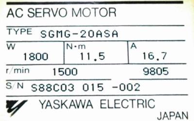 Yaskawa SGMG-20ASA label image