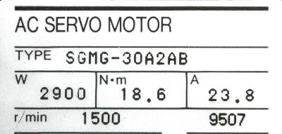 Yaskawa SGMG-30A2AB label image