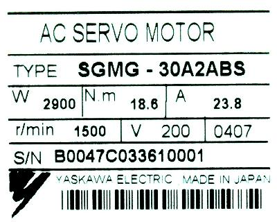 Yaskawa SGMG-30A2ABS label image