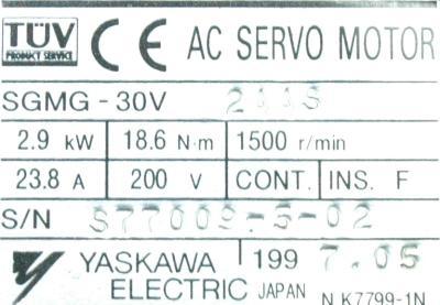 Yaskawa SGMG-30V2AAS label image