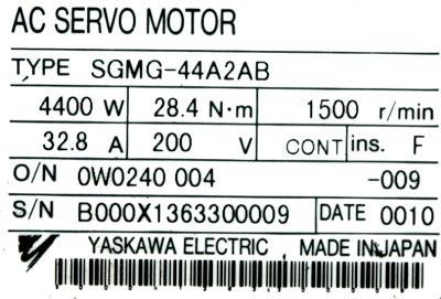 Yaskawa SGMG-44A2AB label image