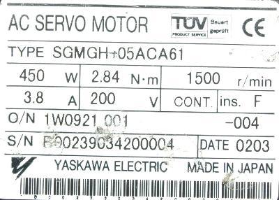 Yaskawa SGMGH-05ACA61 label image