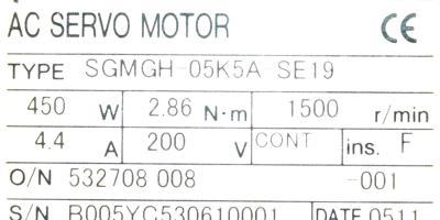 Yaskawa SGMGH-05K5A-SE19 label image