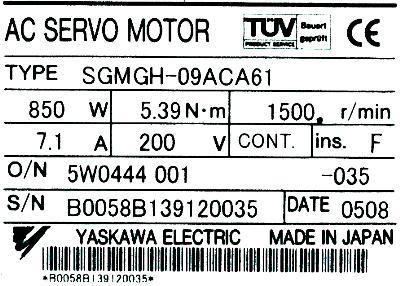 Yaskawa SGMGH-09ACA61 label image