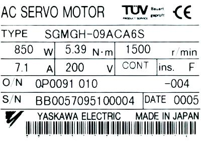 Yaskawa SGMGH-09ACA6S label image