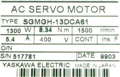 Yaskawa SGMGH-13DCA61 label image
