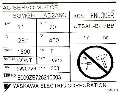 Yaskawa SGMGH-1AD2A6C label image