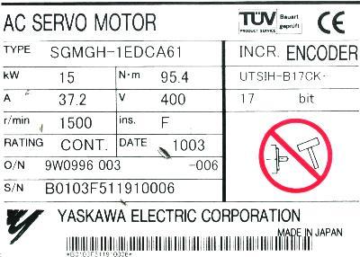 Yaskawa SGMGH-1EDCA61 label image