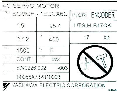 Yaskawa SGMGH-1EDCA6C label image