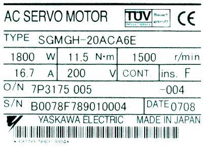 Yaskawa SGMGH-20ACA6E label image