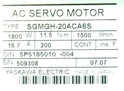 Yaskawa SGMGH-20ACA6S label image