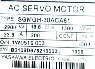 Yaskawa SGMGH-30ACA61 label image