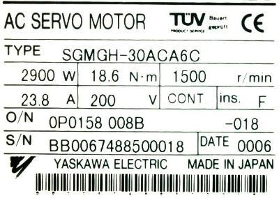Yaskawa SGMGH-30ACA6C label image