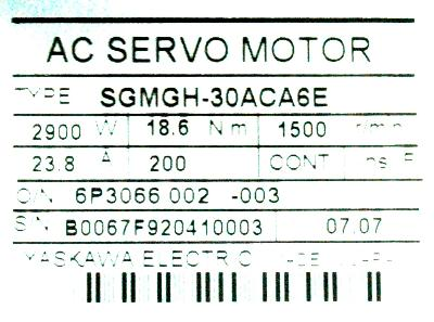 Yaskawa SGMGH-30ACA6E label image