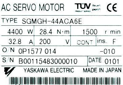 Yaskawa SGMGH-44ACA6E label image