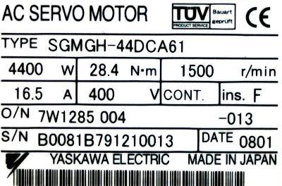 Yaskawa SGMGH-44DCA61 label image