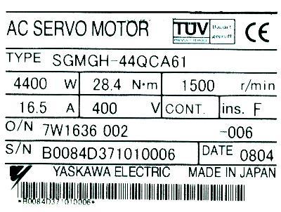 Yaskawa SGMGH-44QCA61 label image