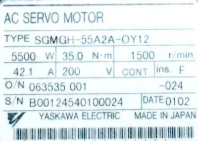 Yaskawa SGMGH-55A2A-OY12 label image
