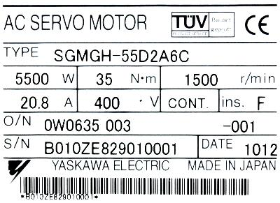 Yaskawa SGMGH-55D2A6C label image