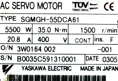 Yaskawa SGMGH-55DCA61 label image