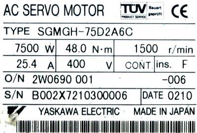 Yaskawa SGMGH-75D2A6C label image