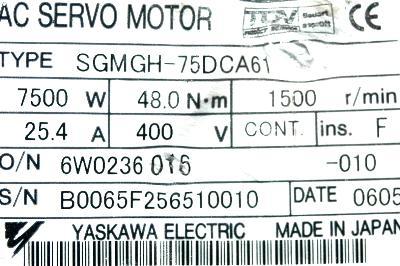 Yaskawa SGMGH-75DCA61 label image