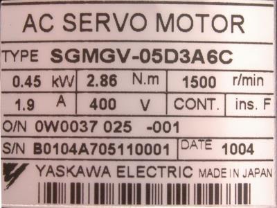 Yaskawa SGMGV-05D3A6C label image