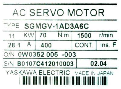 SGMGV-1AD3A6C Yaskawa - Motors-AC Servo