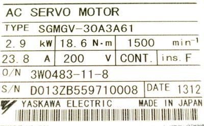 Yaskawa SGMGV-30A3A61 label image