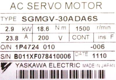 Yaskawa SGMGV-30ADA6S label image