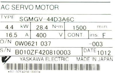 Yaskawa SGMGV-44D3A6C label image