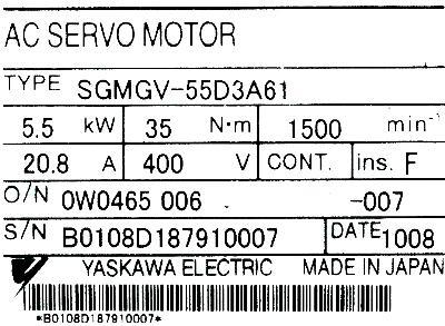 Yaskawa SGMGV-55D3A61 label image