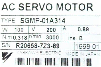 Yaskawa SGMP-01A314 label image