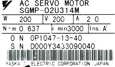 Yaskawa SGMP-02U314M label image