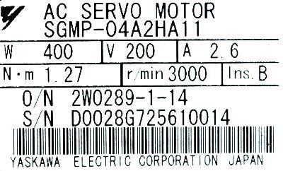 Yaskawa SGMP-04A2HA11 label image