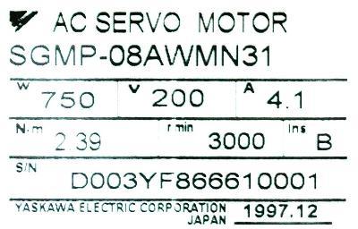 Yaskawa SGMP-08AWMN31 label image