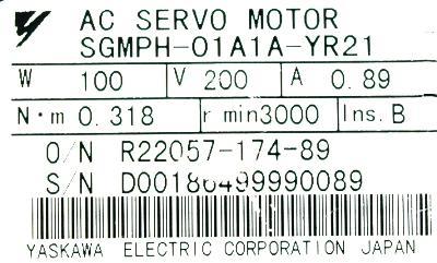 Yaskawa SGMPH-01A1A-YR21 label image