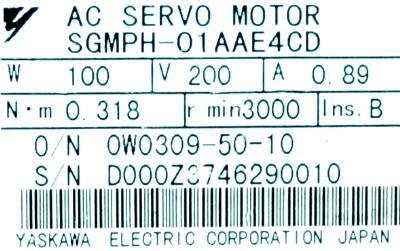 Yaskawa SGMPH-01AAE4CD label image