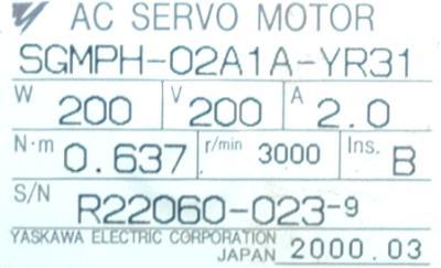 New Refurbished Exchange Repair  Yaskawa Motors-AC Servo SGMPH-02A1A-YR31 Precision Zone