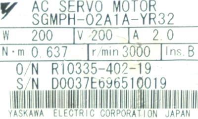 Yaskawa SGMPH-02A1A-YR32 label image