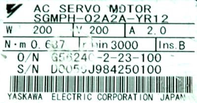 Yaskawa SGMPH-02A2A-YR12 label image