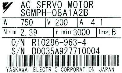 Yaskawa SGMPH-08A1A2B label image