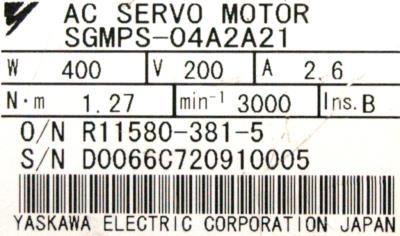 Yaskawa SGMPS-04A2A21 label image