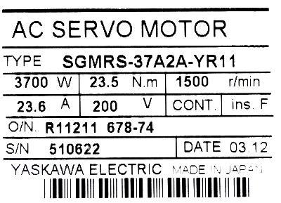 Yaskawa SGMRS-37A2A-YR11 label image
