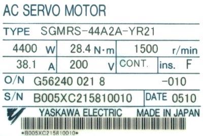 Yaskawa SGMRS-44A2A-YR21 label image