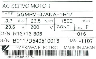 Yaskawa SGMRV-37ANA-YR12 label image