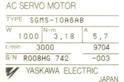 Yaskawa SGMS-10A6AB label image
