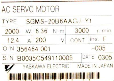 Yaskawa SGMS-20B6AACJ-Y1 label image