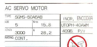 Yaskawa SGMS-50A6AB label image