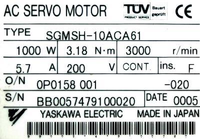 Yaskawa SGMSH-10ACA61 label image